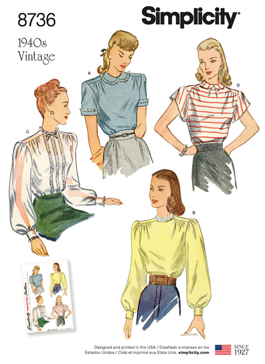 Simplicity 8736 back-buttoning vintage blouses