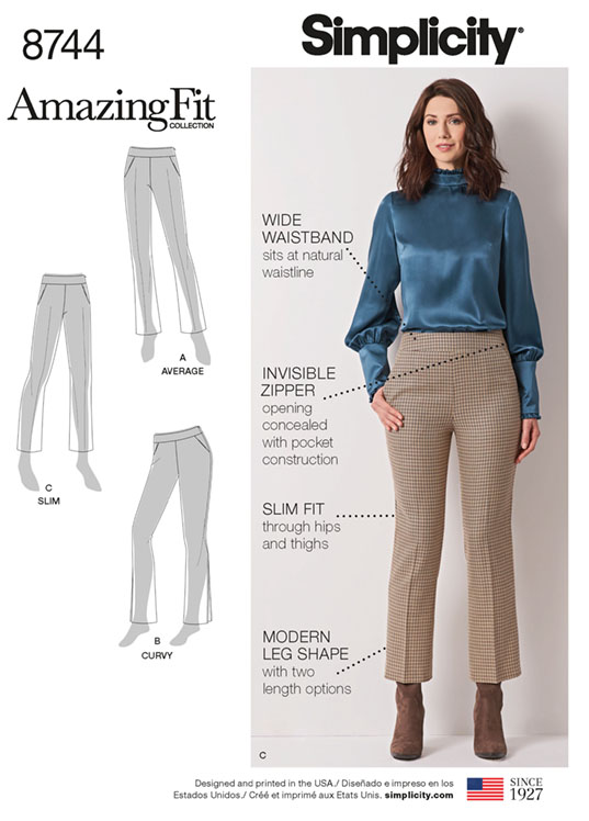 Simplicity 8744 Aamazing Fit bootleg trousers