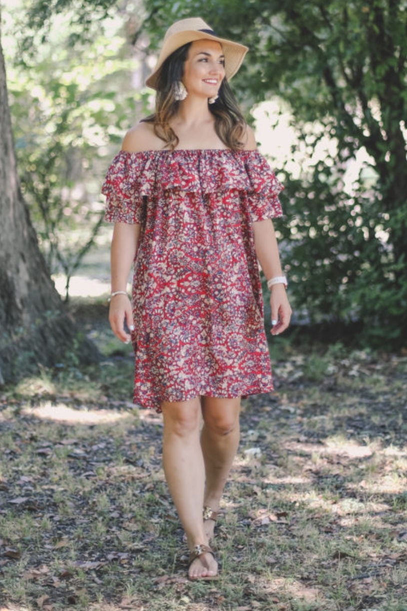 Off the shoulder dress from Caroline Hulse