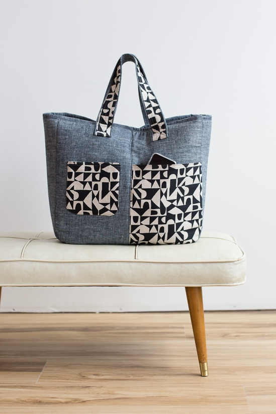 Fika Tote sewing pattern from Noddlehead