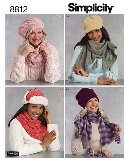 Simplicity 8812- hats and scarves sewing pattern