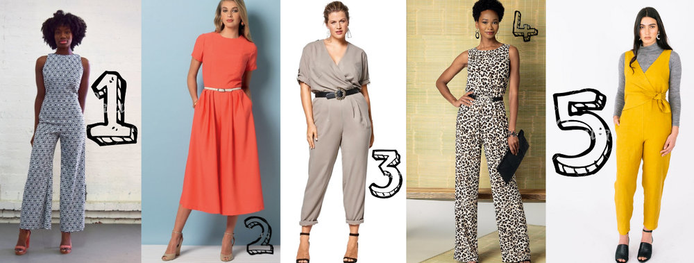 1. Paloma Jumpsuit from Our Lady of Leisure   2. Princess seam close-fitting jumpsuit with wide legs (Vogue 9075)   3. Create a sporty look with this elasticated-waist jumpsuit (Burda 6444)   4. Pull-on jumpsuit with blouson bodice (Butterick 6330)   5. Sierra from Papercut Patterns