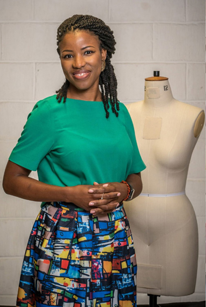 Juliet   Juliet is 33 and a fellow Londoner. She has been sewing for five years and has taught herself to sew watching YouTube videos. Born in Nigeria, she loves African wax print fabrics and bold fabrics nd suing them in her sewing.  Follow her on Instagram – @sewsonatural