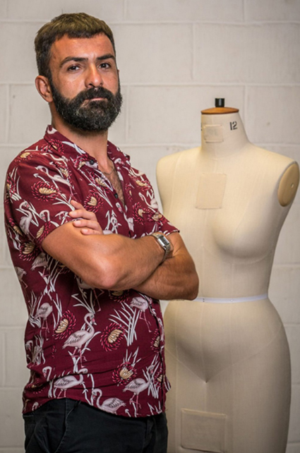 Riccardo   Riccardo is 37, lives in London, and is a Graphic Designer. Having grown up in Italy, the sewing machine was a firm fixture with his mother creating her own designs. He loves up-cycling second hand garments and his proudest sew was a bomber jacket made from an old sofa! Follow him on Instagram – @rifallo