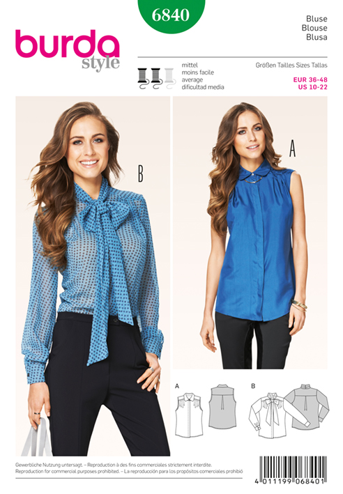 BURDA STYLE B6840 TOP, SHIRT & BLOUSE SEWING PATTERN