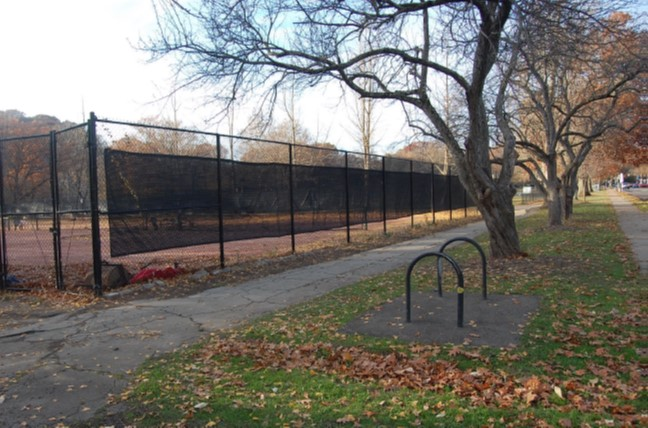 Red clay tennis courts at S. Braddock Avenue