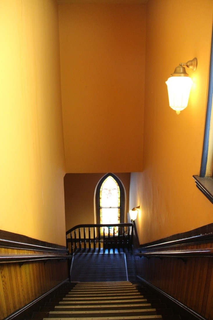 43 View north showing view looking down east stairs toward narthex on 1st floor..jpg