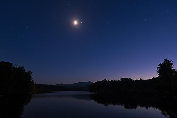 Moon over Price Lake, Blue Ridge Parkway