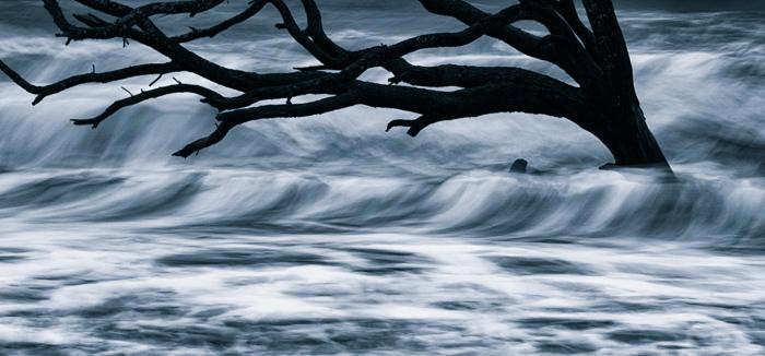 Hunting Island angry sea BW Blue tone.jpg