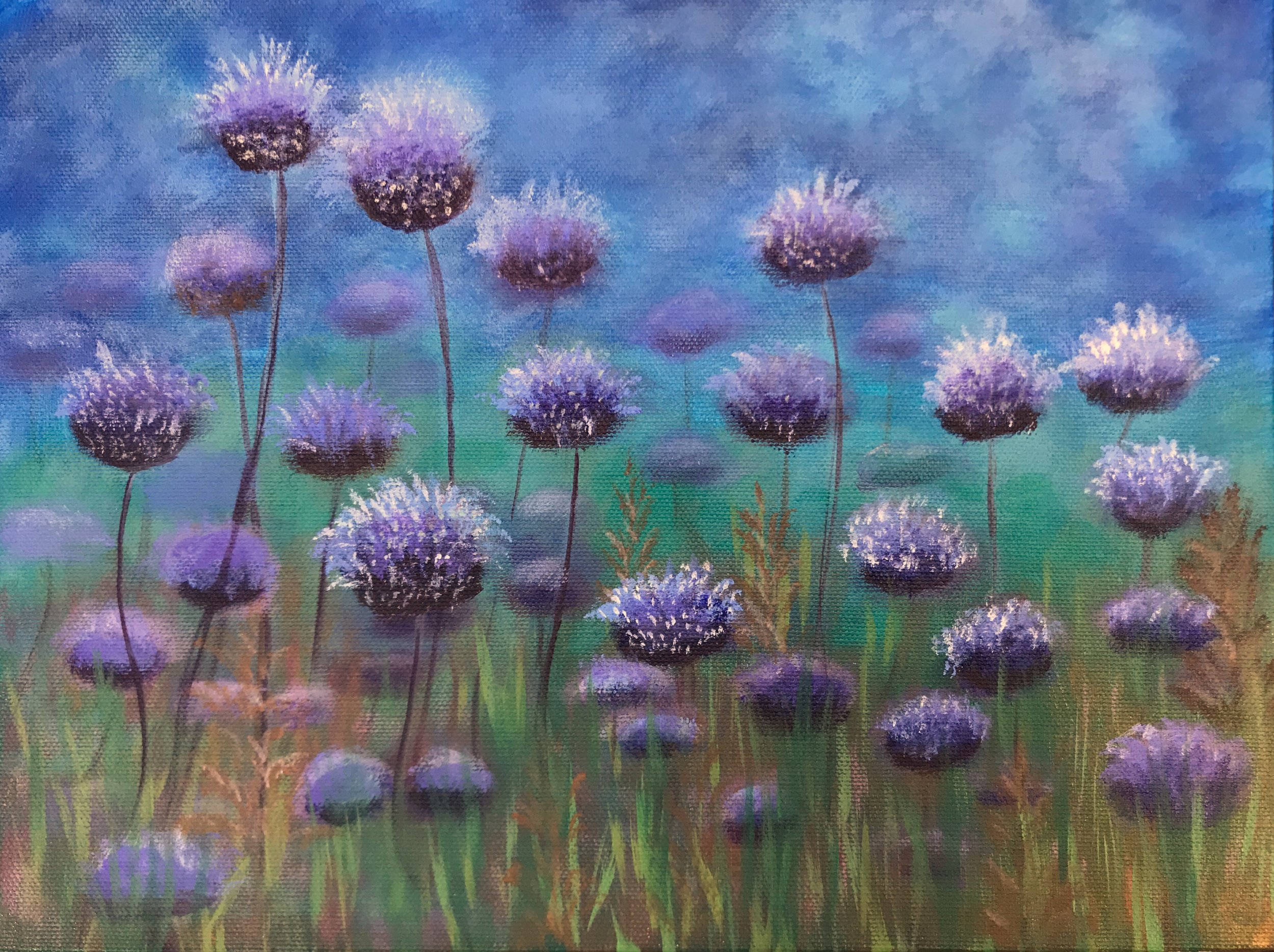 Field Of Blue Flowers Acrylic Painting Kate Silvia Photography