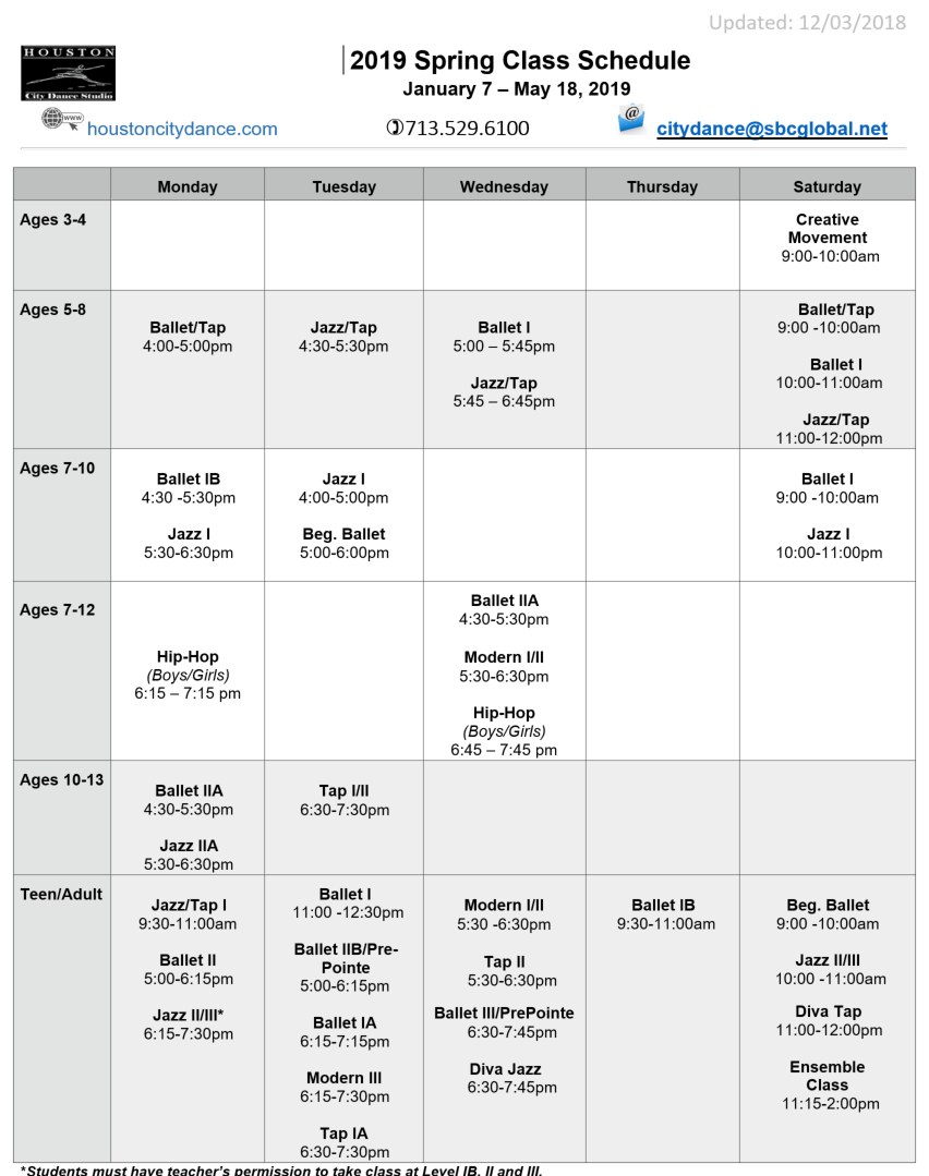 schedule calendar pdf houston city dance dance school
