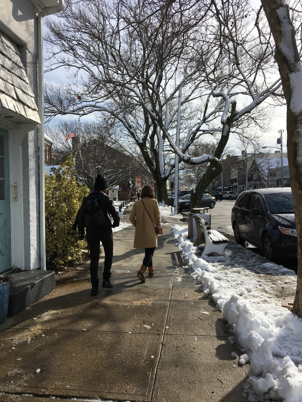 Ashley and Morgan walking through Sag Harbor