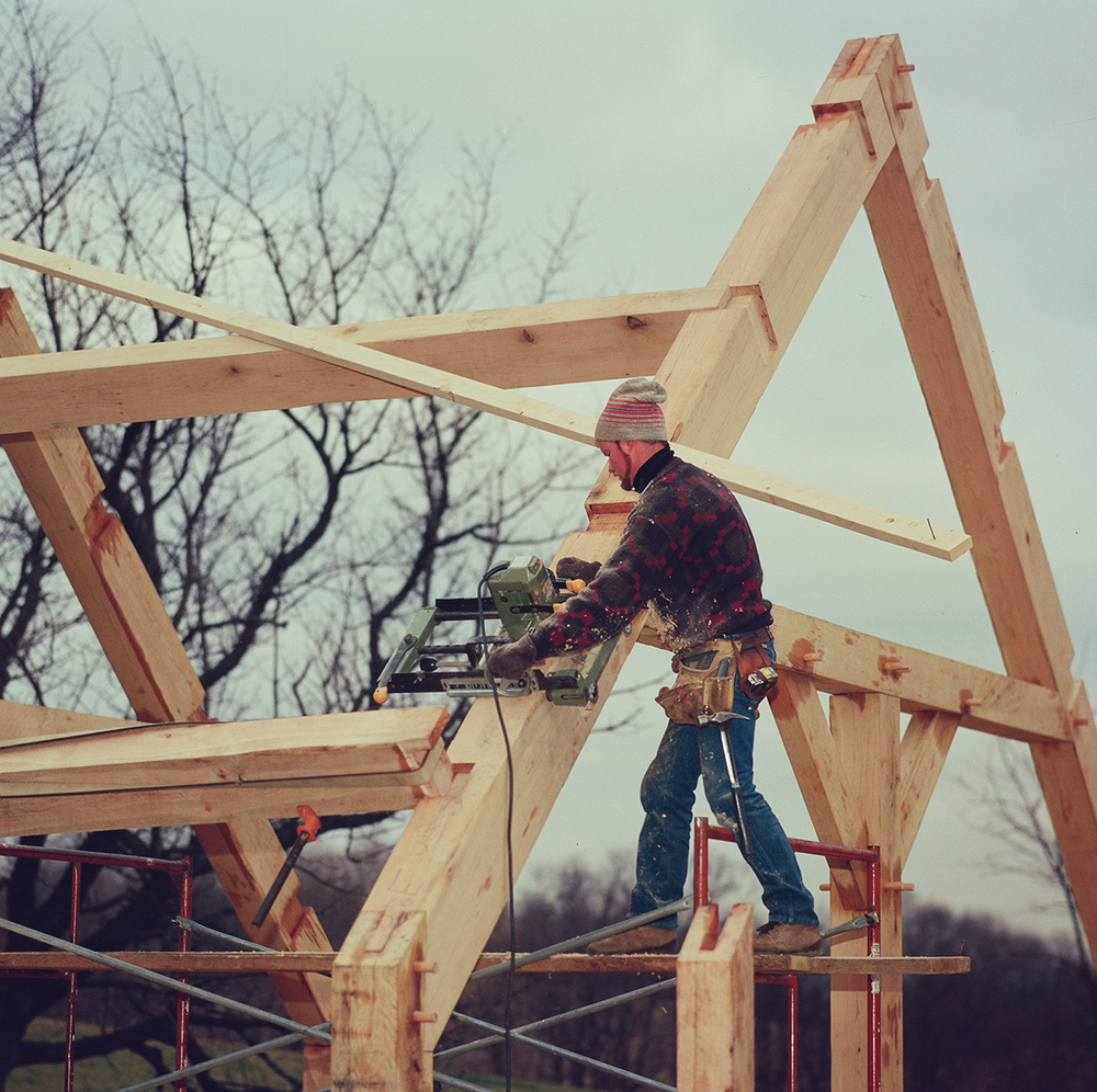 Shawn McGlynn working on a Renaissance Restoration timber frame project.