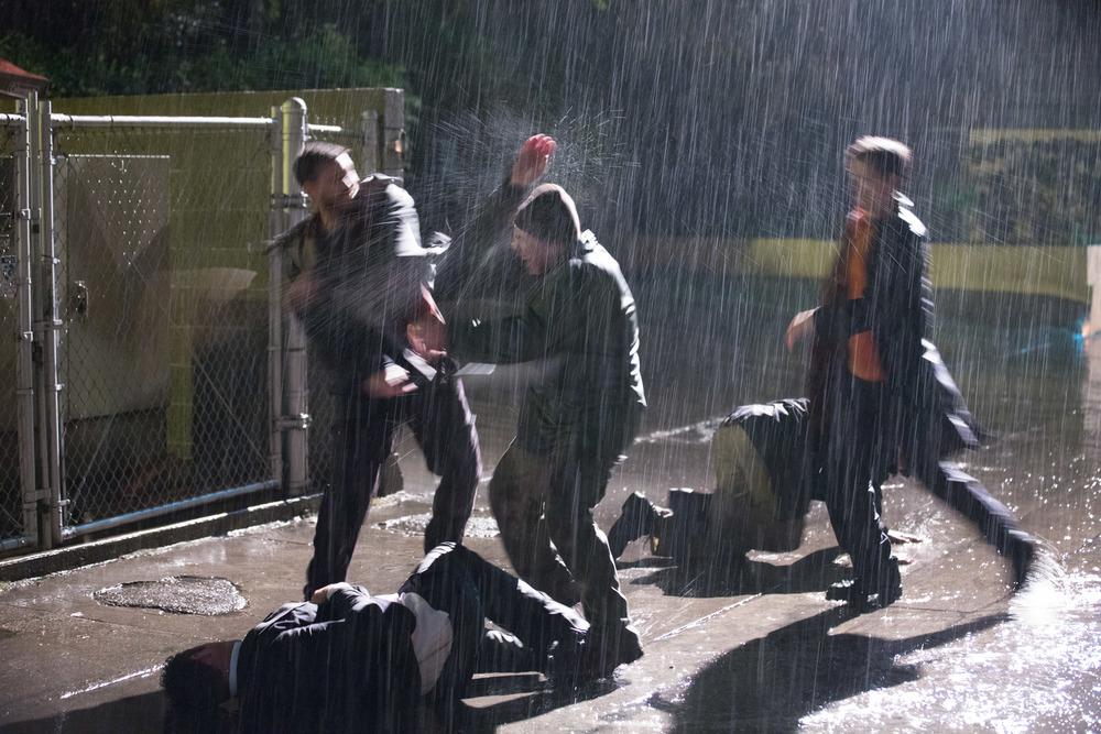 Brandon Quinn (Slugger) beating on Tony Snegoff (Thug 1), Carlos Ragas (Thug 2), and Travis Cluff (Thug 3) while Ryan Pratt (Businessman Stunt Double) struggles below. Photo by PJ Barlow.