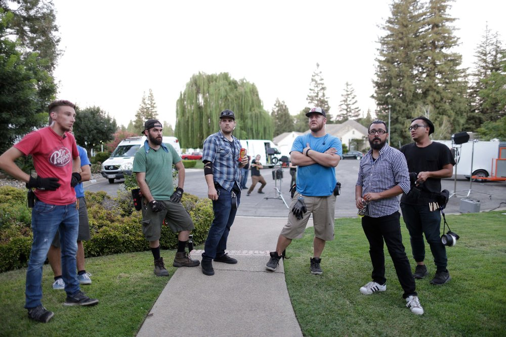 THE CREW. L-R: Grip Tyler Smith, Someone in a Blue Shirt, Best Boy Grip Jeremy Owen, Director of Photography Kyle Gentz, Key Grip Cody Fletcher, Script Supervisor Orlando J. Gomez, Grip Chad Saechao. Background: Set Designer Max Martinez. Not pictured in this photo: everyone else actually working.