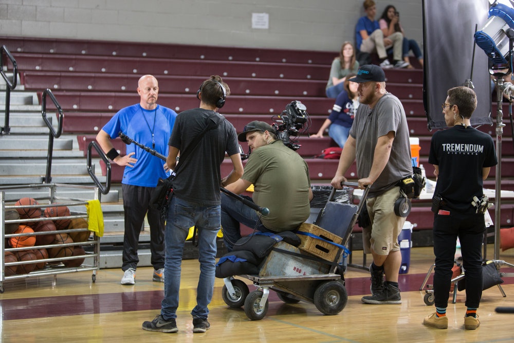 I know this is hard to believe, but that small vehicle D.P. Kyle Gentz sits on as he's pushed around by Key Grip/Producer Cody Fletcher was NOT store bought. I know. I just blew your mind. Photo Credit: Cody Allred