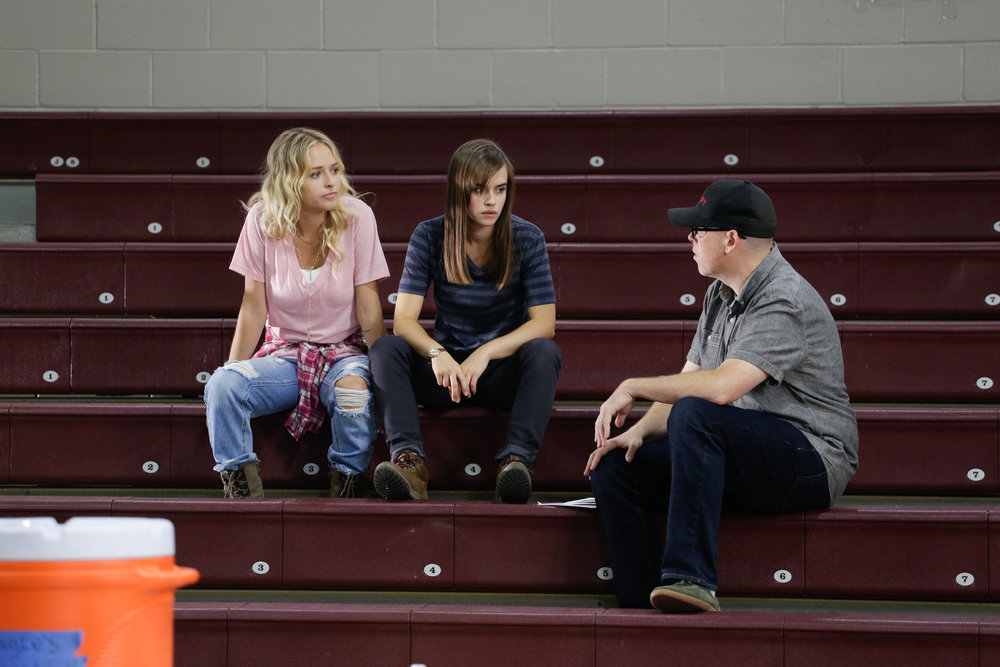 Me directing Audrey Neal and Ema Horvath. Whatever I'm saying, it looks like it's really boring. Photo Credit: Cody Allred