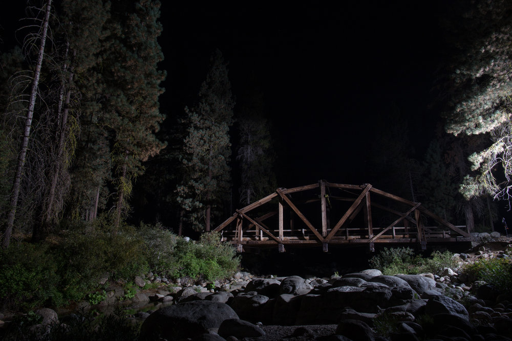 The Dinkey Creek Bridge on a (mostly) moonless night. But thanks to our crew you can't TELL. Photo Credit: Cody Allred