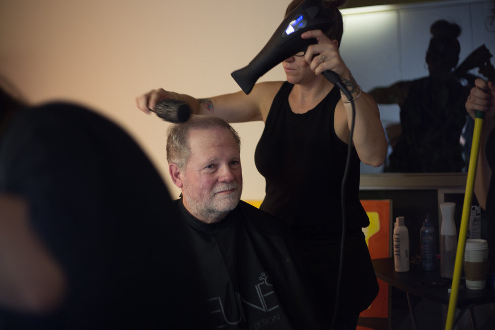 Actor Greg Wike gets spruced by Jenny Pauline-Mendoza. Fun fact: Greg hated growing out his facial hair, but he's cool enough to do it anyway. Photo Credit: Cody Allred