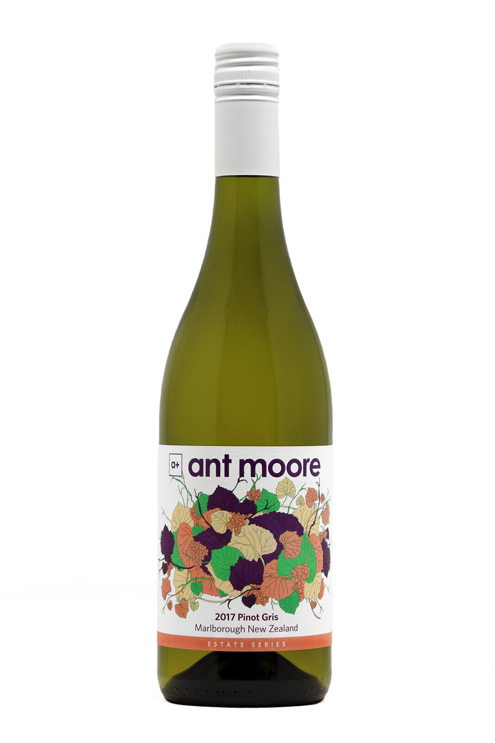 Ant Moore Estate Series Pinot Gris 2017 - Intense nose of apricot and cheese, derived from wild ferment and age on oak lees. Long dry finish with intense lasting fruit flavours, a big Pinot Gris not for the faint at heart.