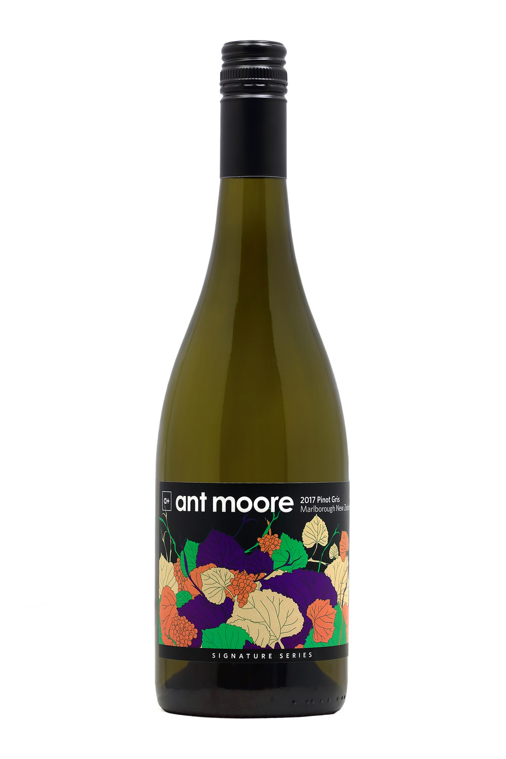 Ant Moore Signature Series Pinot Gris 2017 - Pear and stone fruit flavours, followed by attractive secondary funky characteristics derived from indigenous yeast ferments. Lovely balance, with a soft smooth and lingering finish.