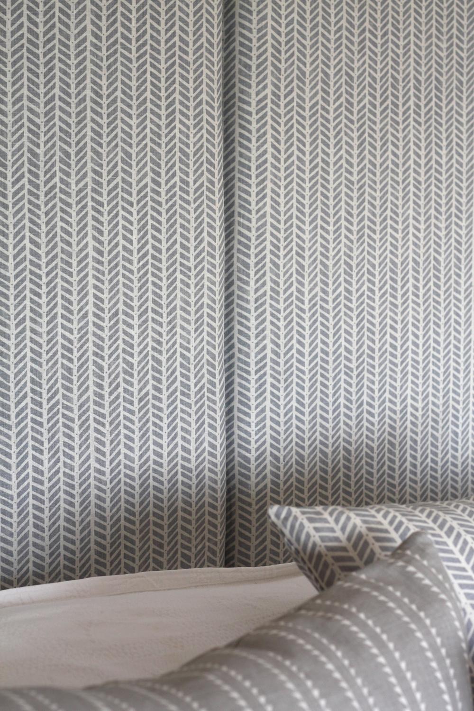 Headboard upholstered in Linen
