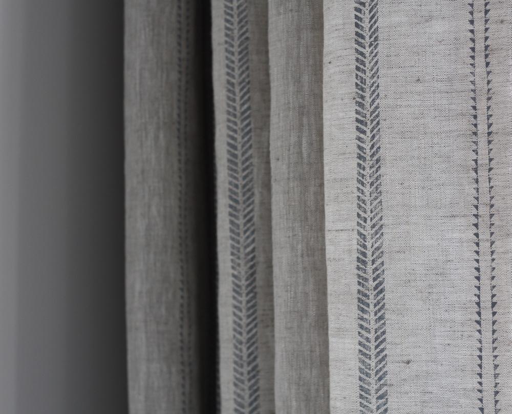 Linen Curtain : Slade Stripe Dew on Natural