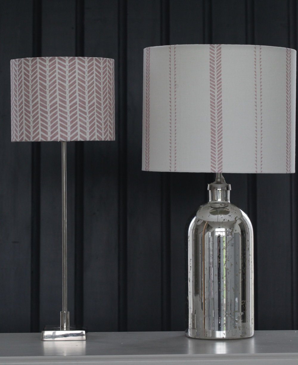 Petal Pink Lampshades in linen