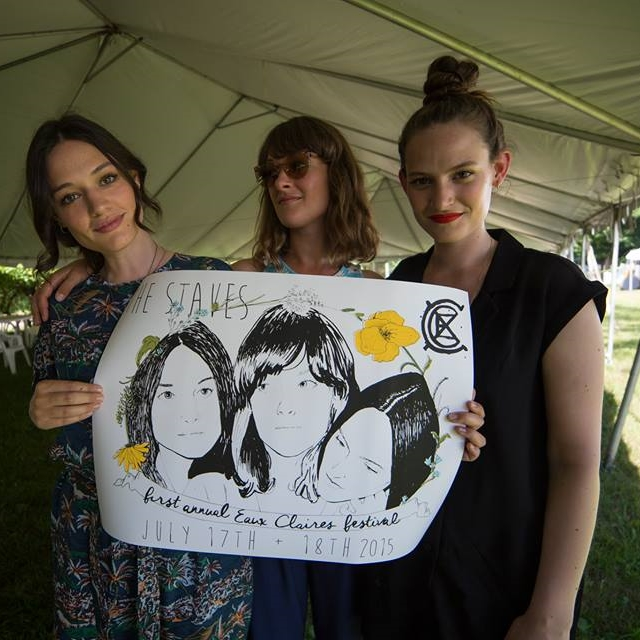 The Staves with their customized Ambient Inks artist poster /  photo by Freddie Paull
