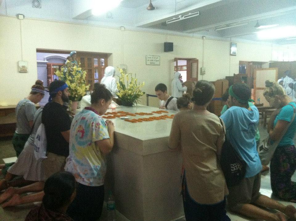 Praying at Mother's Tomb
