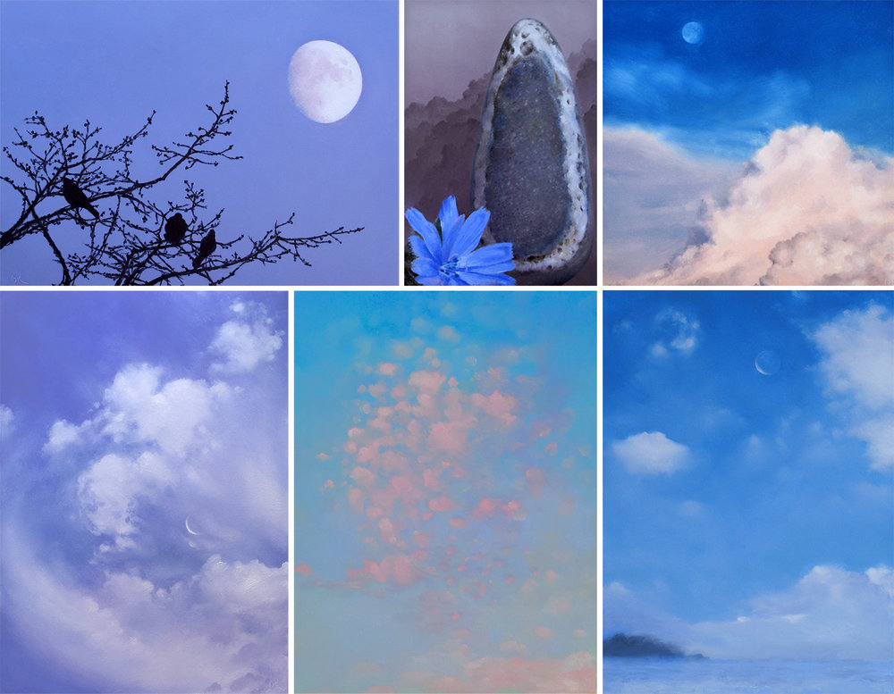 BIRDS, MOON, STONE, SKIES, SNOW