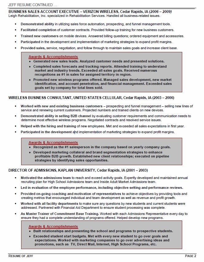Executive Resume Page 2