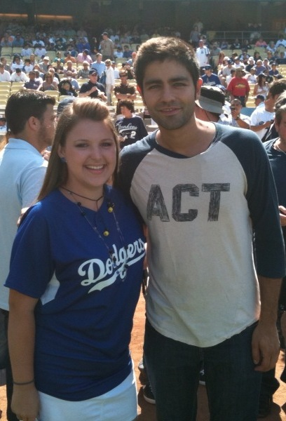 Malia with Adrian Grenier @ Dodger Stadium ~ Dodgers vs Yankees June 26 2010.jpg