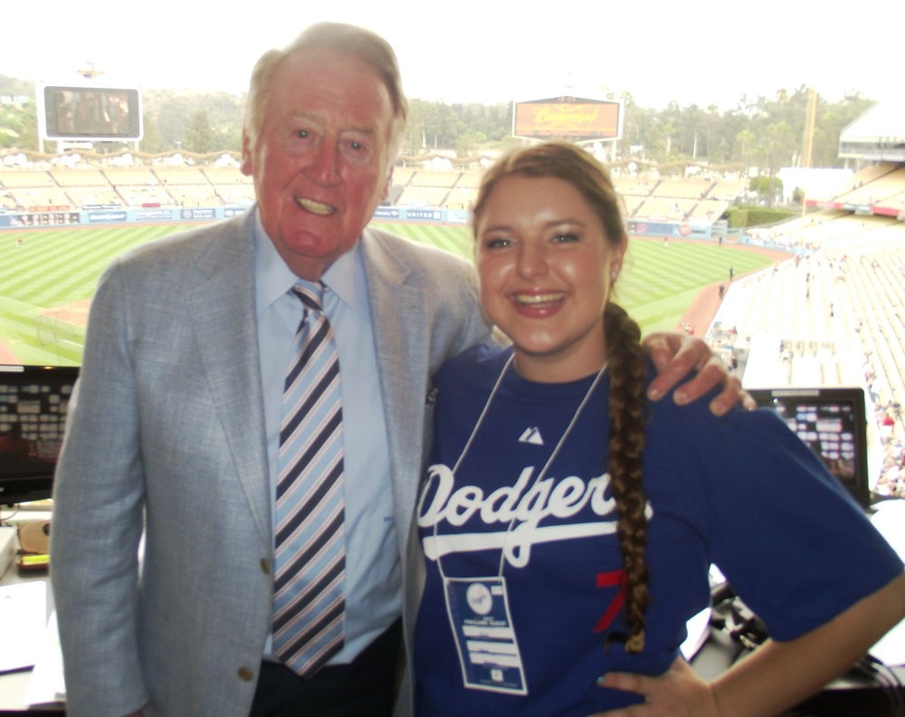 Malia with broadcast legend Vince Scully-cropped.JPG