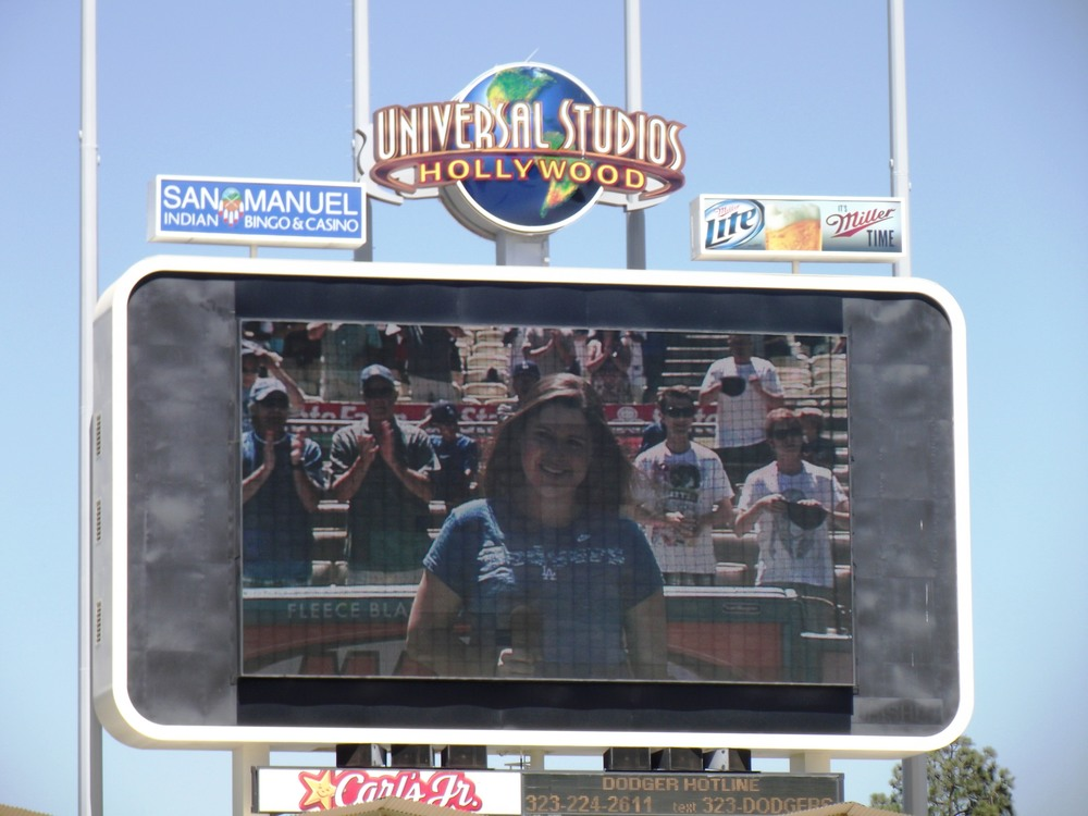Malia sings again at Dodger Stadium.JPG