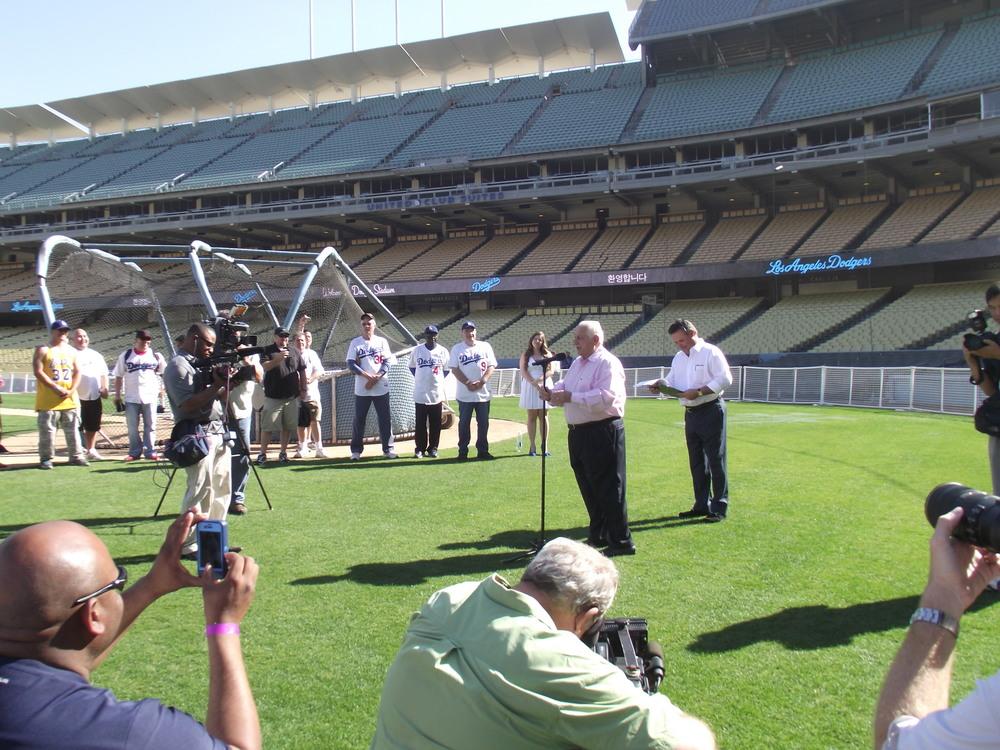 Getting ready to sing for Veteran's Day Event @ Dodger Stadium Nov 2013.jpg