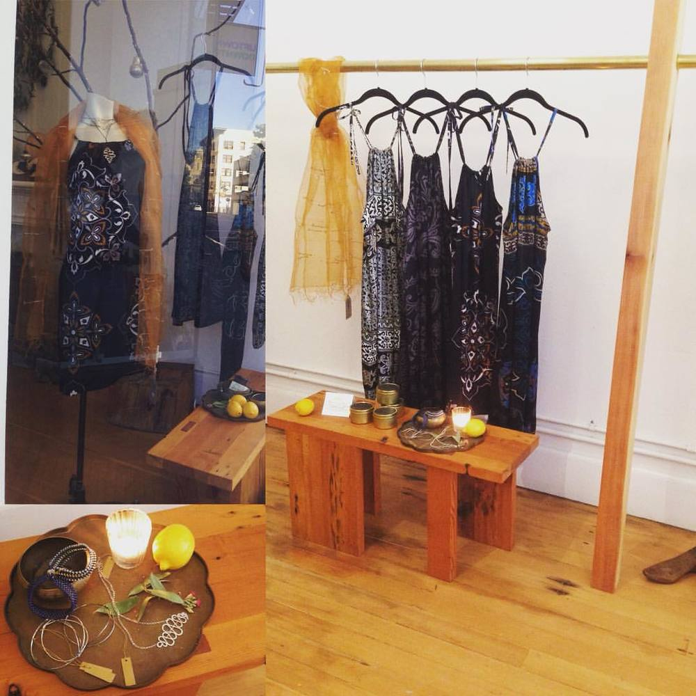 "The perfect New Years Dress will take you from NY'sEve party, to bed ( who doesn't sleep in silk slips?) to the beach on New Year's Day!!! @kosa_arts along with silver necklaces from @doriemeister , beaded bracelets from@annemariefoley ,silk ""string theory"" scarves from @indigohandloom !!! #bohemian #luxe #calistyle #kosa_arts #oakland #indigohandloom #dreimeister #beadwork #silk #handloom #happynewyear (at KOSA ARTS)"