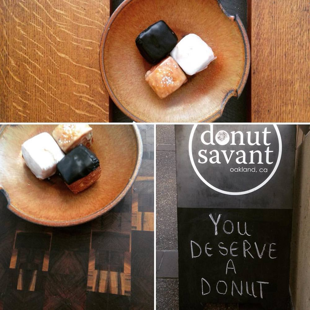 I did deserve a donut, thank you @donutsavant these are too amazing to eat out of a box so I'm indulging on vintage ceramics on a new table by @studiosenex here @kosa_arts #thisisoakland #donutsavantoakland #oakland #madeinoakland #cronut #woodworking  (at donut savant)