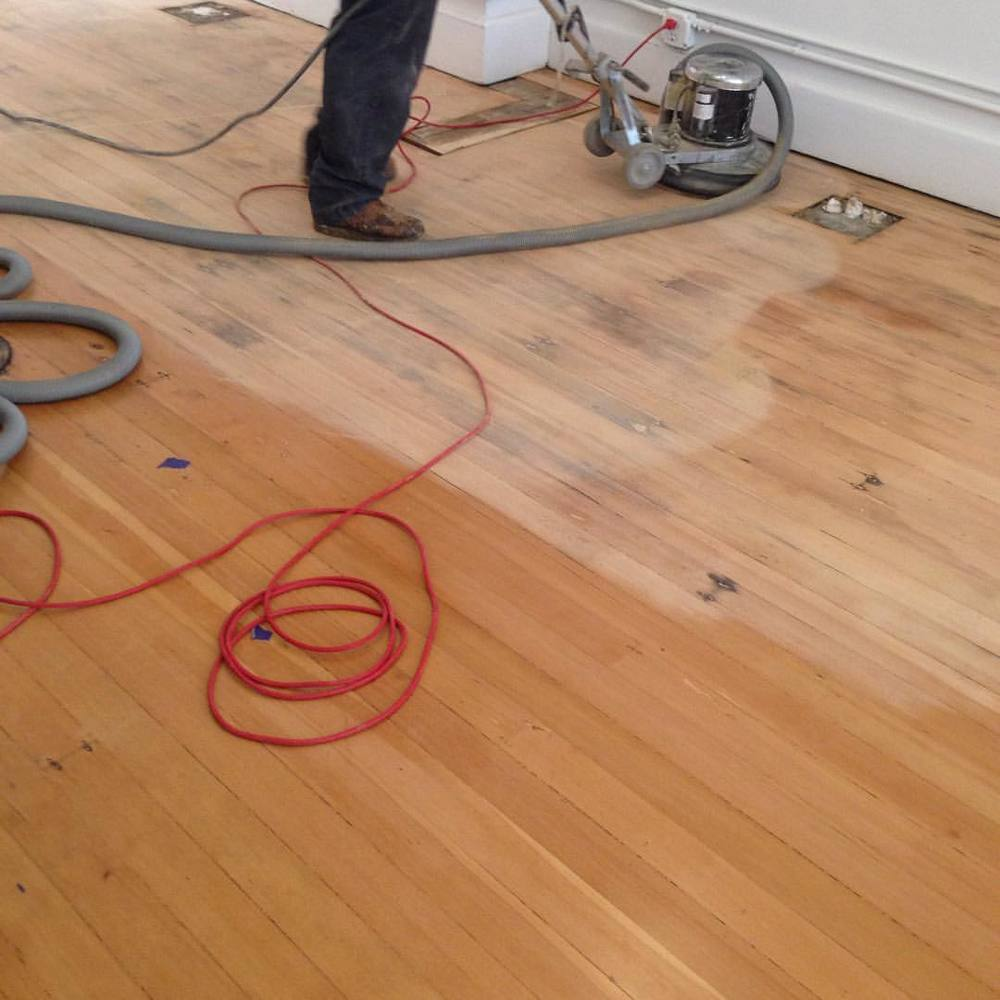 Re-sanding to blend old water damage… (at KOSA ARTS)