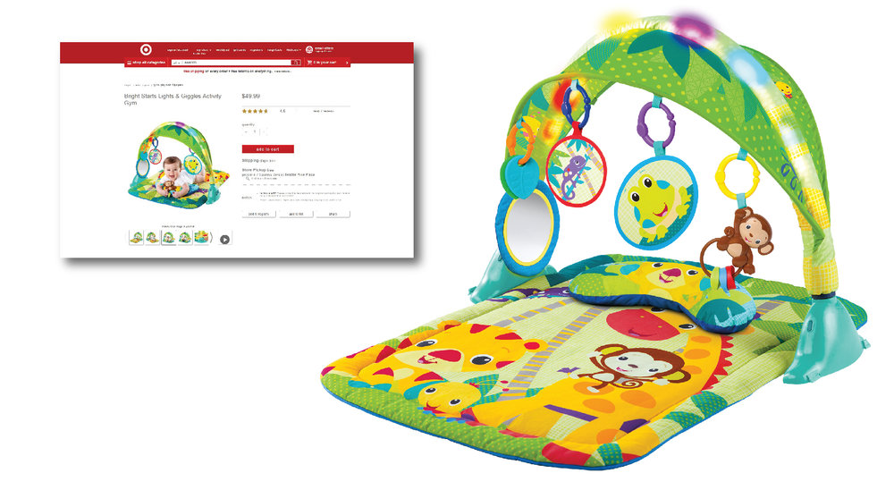 Same concept is now sold at Target as the Lights & Giggles Activity Gym