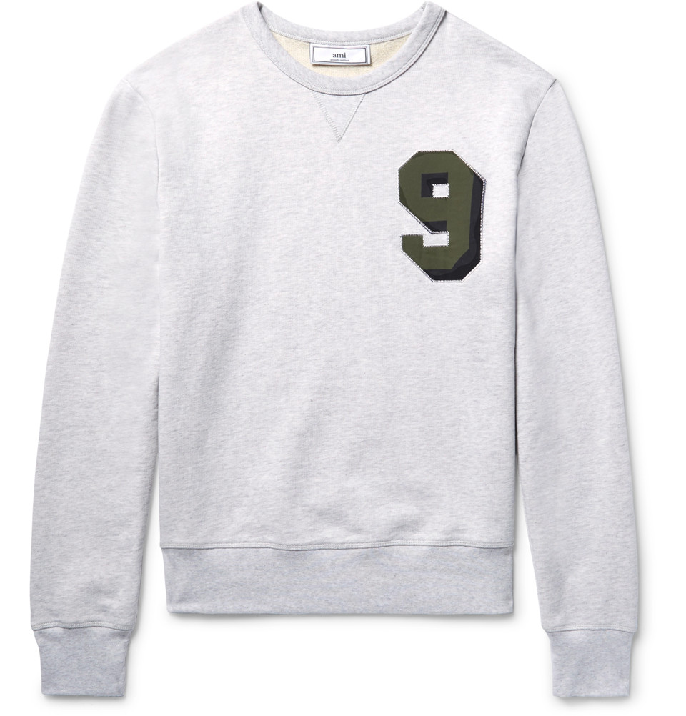 AMI Embroidered Loopback Cotton-Jersey Sweatshirt - $255