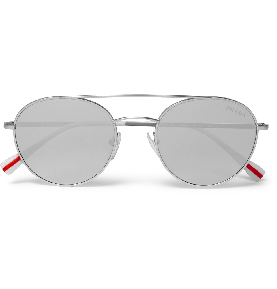 PRADA Aviator-Style Silver-Tone Sunglasses - $250