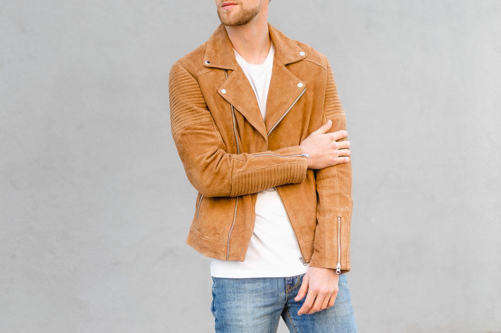 ASOS Suede Biker Jacket With Quilting In Tan