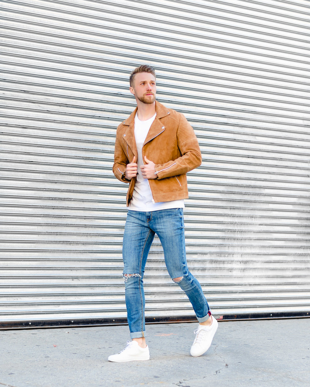 ASOS Suede Biker Jacket With Quilting In Tan