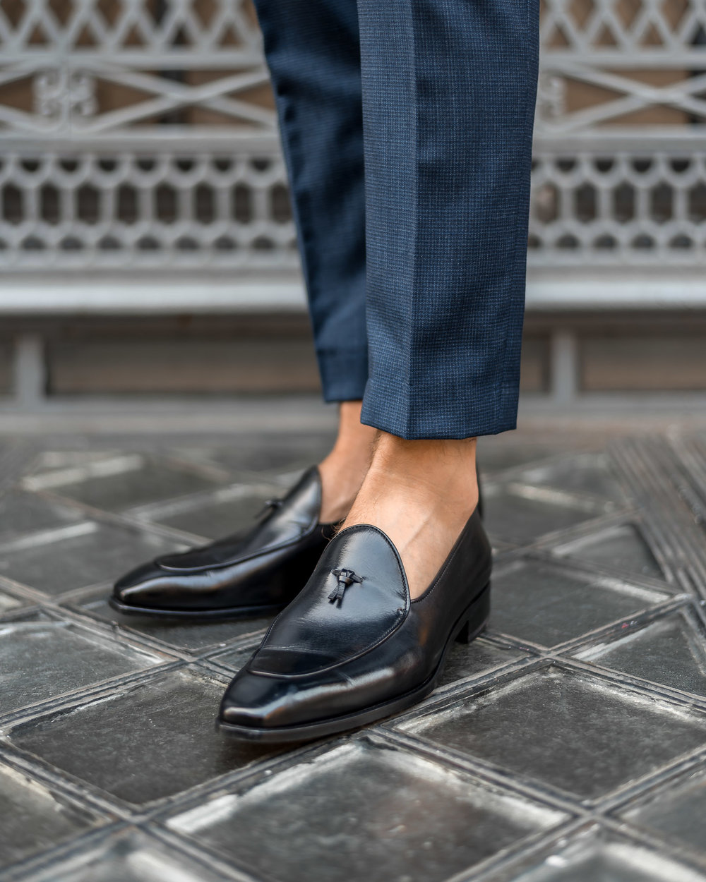 indochino made to measure custom suit paul evans van damme belgian loafer