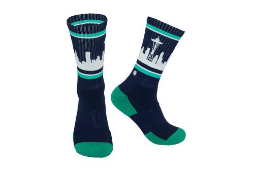 Navy & Teal Mariners Skyline Socks