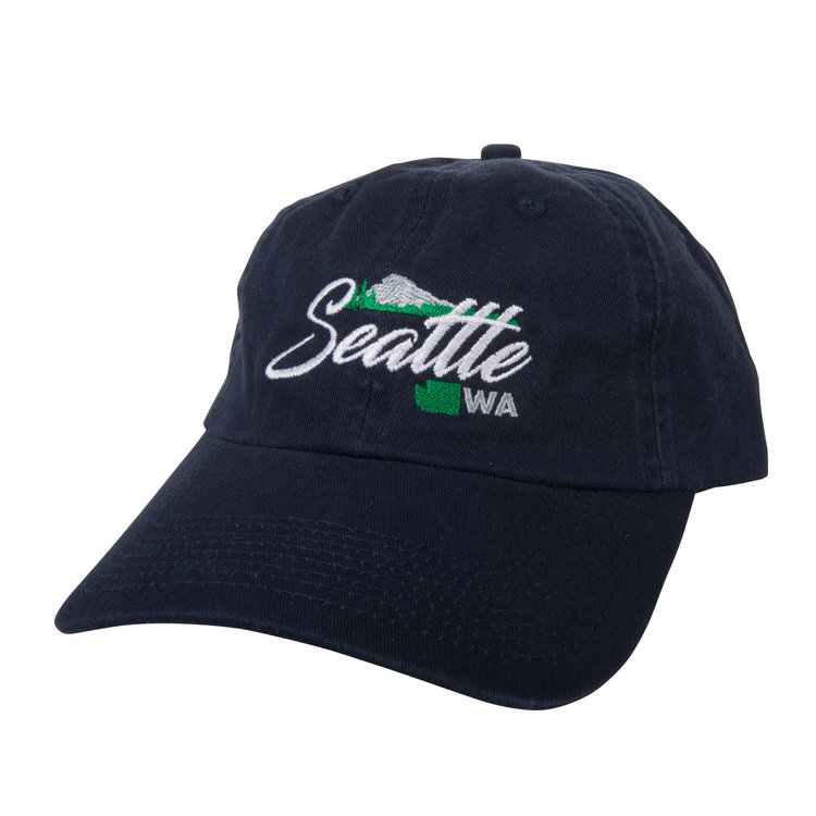 A classic Seattle logo, on a nice, basic navy blue hat with an adjustable clasp, perfect for representing the Emerald City, and for = catching some extra shade when you need it! What else could you ask for? A discount? You got ti! The Blue Seattle Northwest hat is currently on sale for a limited time! Don't miss out!