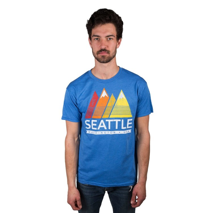 More mountains! This seattle shirt sports a classic, vintage-inspired print of mountain icons, on a semi-faded, 100% cotton t-shirt - just another example of all the epic opportunities to represent The Emerald City in full color, courtesy of Simply Seattle.