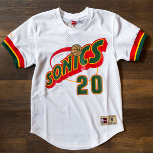 2527d1e9c915 Mitchell  amp  Ness Seattle SuperSonics Gary Payton White Mesh Crewneck ...