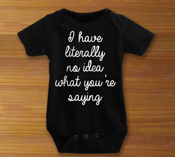 this onesie made me lol. it works for a boy or girl, and it will bring a much-needed giggle to a sleep deprived parent. found it at the tol tot shop on etsy. get it  here.